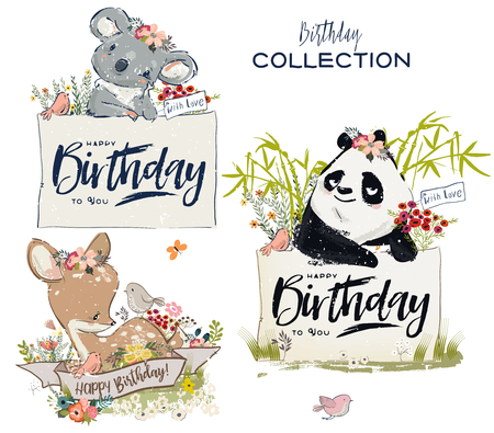 Collection of cute vector birthday animals with flowers 일러스트