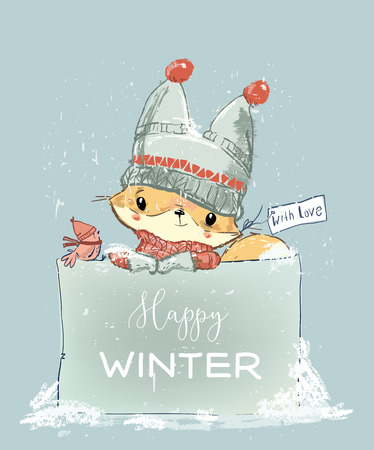 Little winter fox with hat