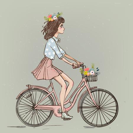 jolie fille de dessin animé à vélo avec des fleurs