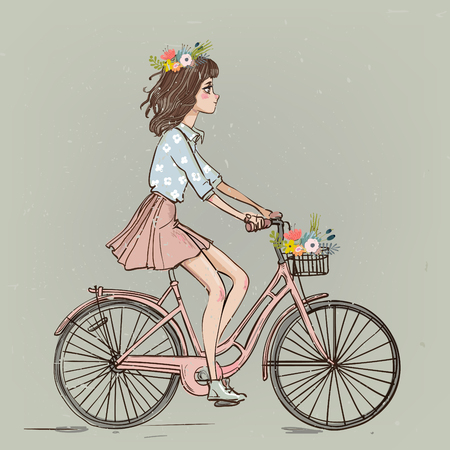 Linda chica de dibujos animados en bicicleta con flores Foto de archivo - 109694162