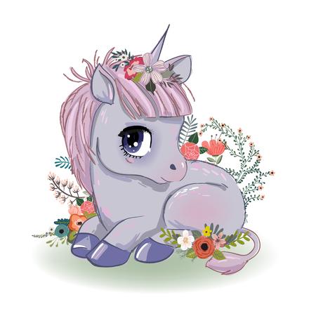 little cartoon fairytale unicorn 스톡 콘텐츠 - 109658306