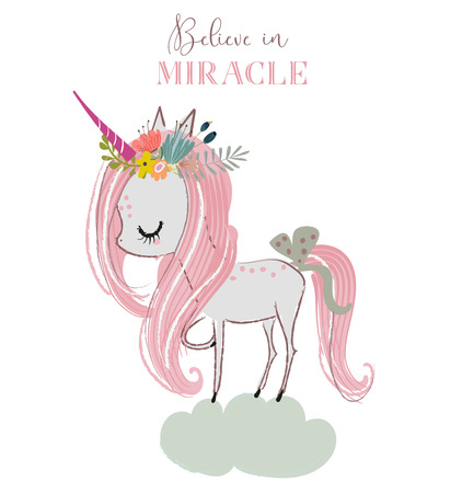 little cartoon white fairytale unicorn. vector art