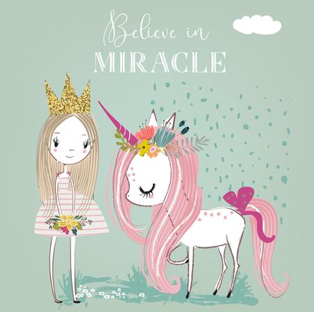 little cartoon fairytale unicorn with princess
