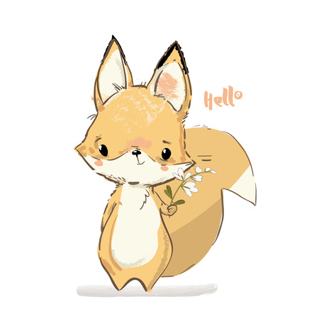 Little Cute fox with flowers Vettoriali
