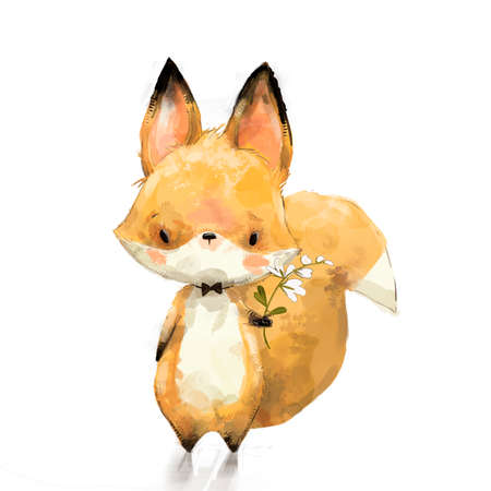 Little fox with flower 스톡 콘텐츠