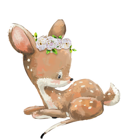 Little Cute  lovely deer with flower