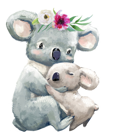 Little Baby and mom koala with floral wreath