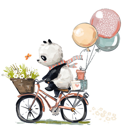 Little panda on bike 스톡 콘텐츠