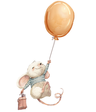 Little mouse fly with balloon.