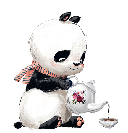 Little Panda with tea Banque d'images - 110526642