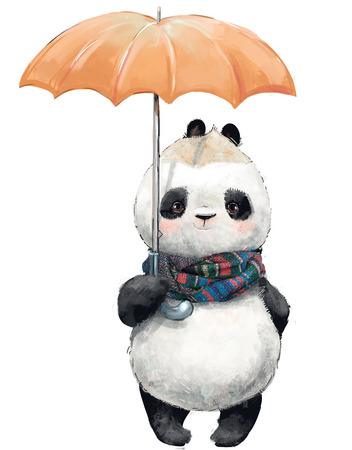 Little Panda with umbrella Stock Photo