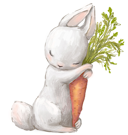 Little white hare with carrot.