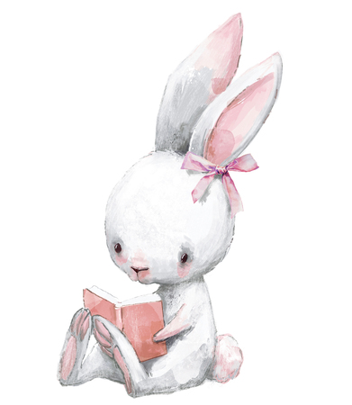 cute birthday cartoon hare with book