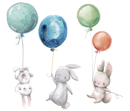 Little hares fly with balloon. 스톡 콘텐츠 - 119911800