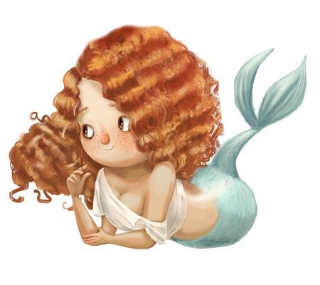 cute cartoon mermaid with red curled hairs