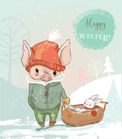 Cute pig boy character and hare on sleigh. Vector card