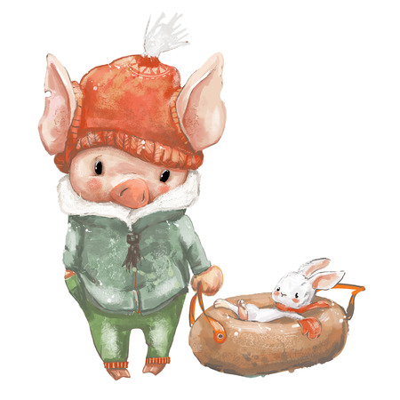 Cute pig and little hare on sleigh