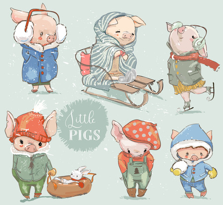 cute lovely cartoon pig with snowman. Vector collection Stock Illustratie