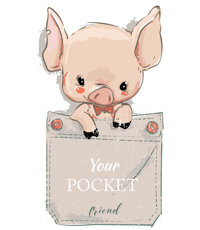cute lovely cartoon pig on pocket. Vector card