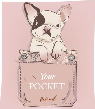 little pug in pocket. vector illustration