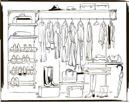 interior ink sketch wardrobe