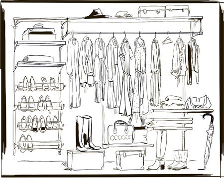 interior ink sketch wardrobe