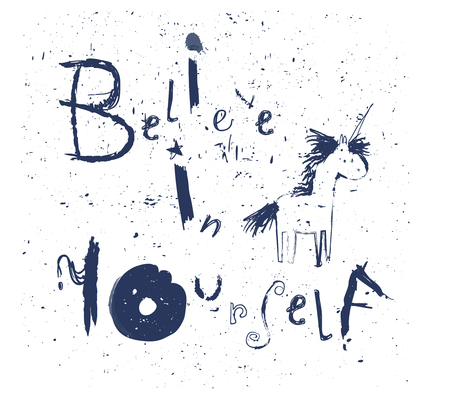 believe in yourself - lettering with unicorn