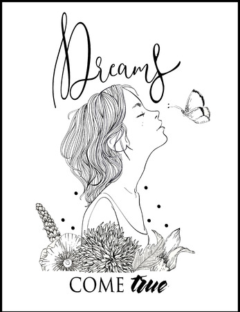 profile of young beautiful woman with lettering