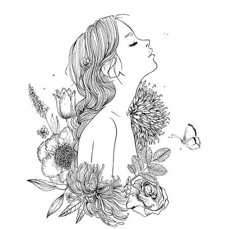 花を持つ若い美しい女性のプロフィール ベクターイラストレーション