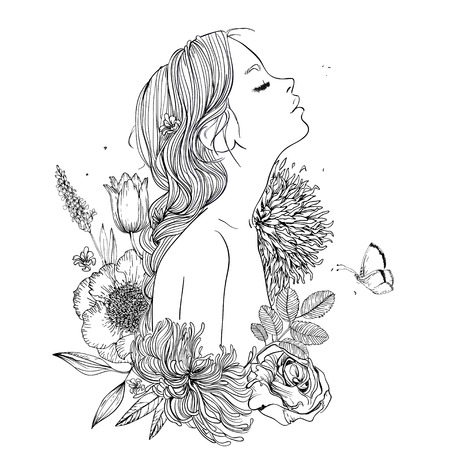 profile of young beautiful woman with flowers 일러스트
