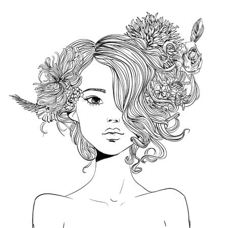 retrato, de, joven, mujer hermosa, con, flores