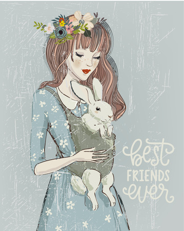 young woman with a rabbit in bag Stock Illustratie