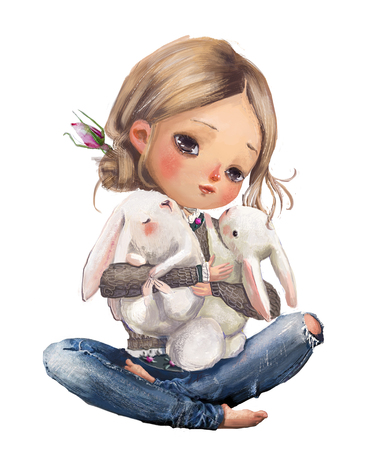 cute cartoon summer girl with little hares