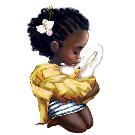little african girl with a goose Stock Photo