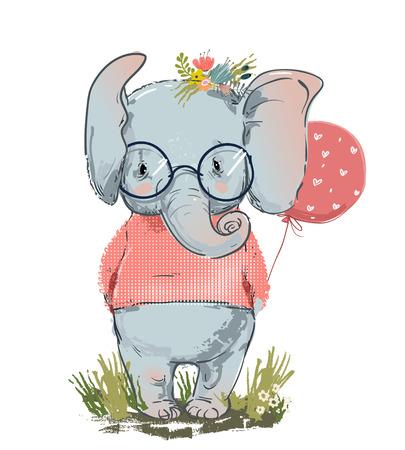süßer Elefant mit Ballon und Pullover