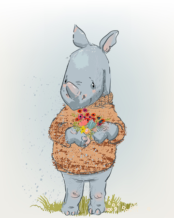 cute Rhino with floral wreath and sweater