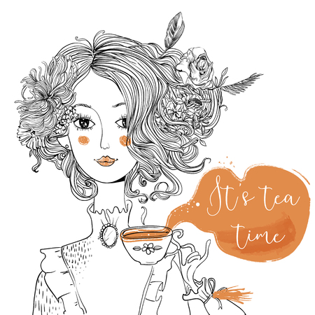 cartoon lady with tea cup and flowers in the hairs Stock Illustratie