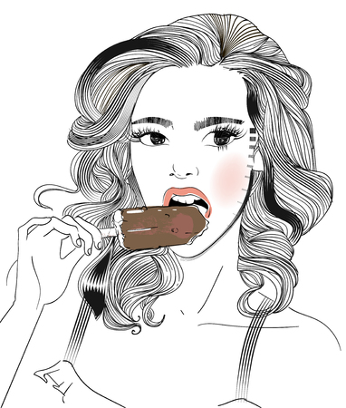 portrait of young woman portrait with an icecream Illustration