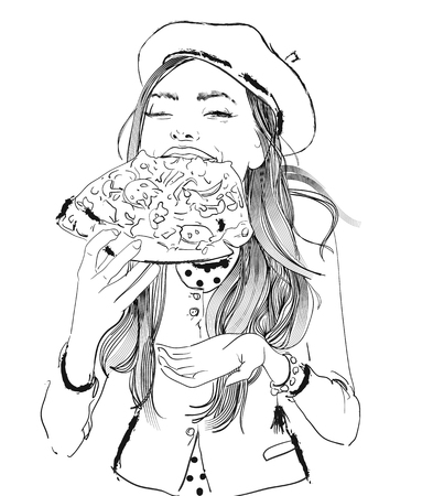 portrait of young woman portrait with pizza