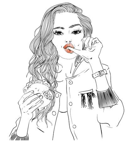 retrato, de, mujer joven, retrato, con, hamburguesa Ilustración de vector