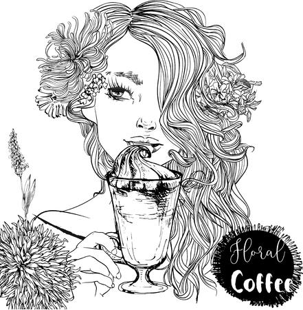 beautiful portrait of cartoon girl with cofee cup