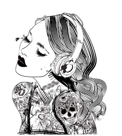 woman with headphones and tattoo