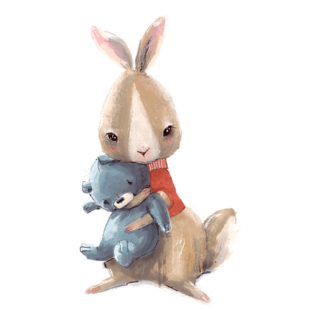 cute little hare with sweater and Teddy bear