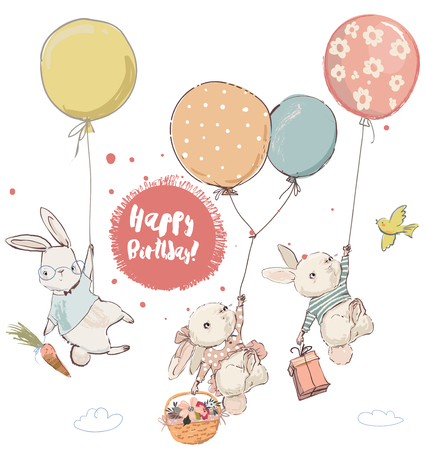 cute hares in balloons. Vector collection