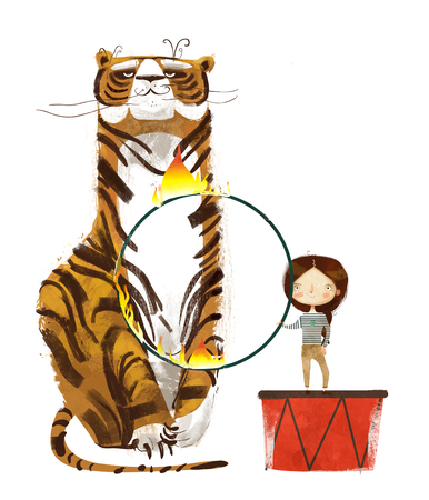 circus trainer with tiger and fire hoop