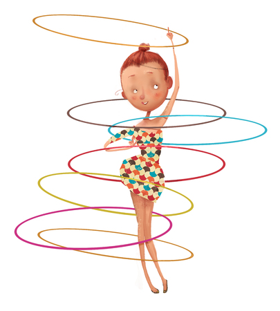 cute cartoon girl with hoops