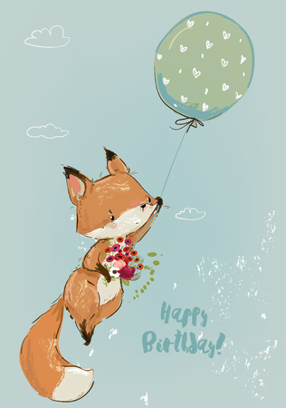 cute fox fly with balloon. Vector lovely collection