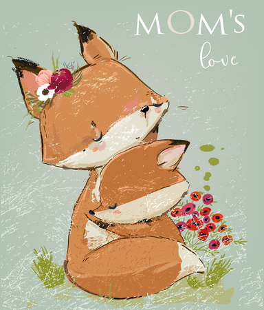 cute mom fox with her kid. Vector lovely art Çizim