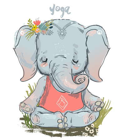 cute elephant in lotus pose