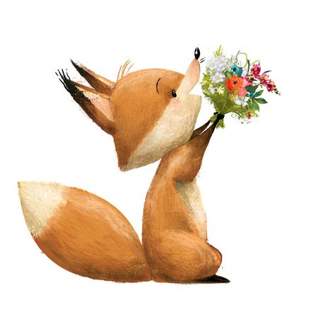 słodki lisek z kwiatowym bukietem